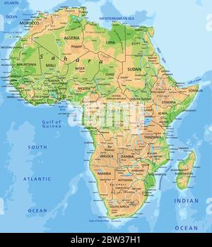 Cartina Giografica Africa.Africa Cartina Fisica Foto Stock Alamy