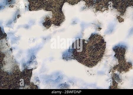 Neve scongelata a forma di cuore, primo piano, spazio di copia. San Valentino Foto Stock