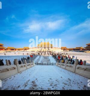Pechino, Cina - 9 2020 gennaio: Taihedian (Sala della Suprema armonia) originariamente costruito nel 1406, è la sala più grande della Città Proibita, situata presso la sua Foto Stock