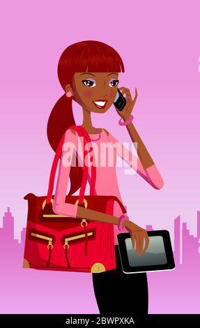 Donna sorridente che tiene un tablet digitale e parla con il telefono cellulare