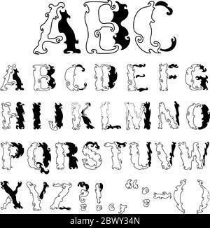 Alfabeto decorativo disegnato a mano vettoriale Foto Stock