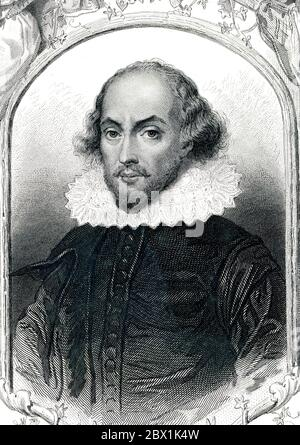 William Shakespeare, 1564-1616, poeta e drammaturgo inglese, 1850, Francia Foto Stock