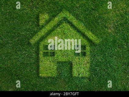 Verde casa mondo verde. Foto Stock