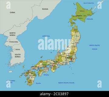 Cartina Giappone Dettagliata.Vettore Dettagliata Cartina Stradale Di Isola Giapponese Okinawa In Giappone Immagine E Vettoriale Alamy