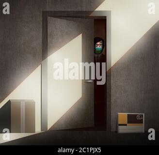 Un giovane timoroso e cauto in una maschera chirurgica svanisce dalla porta del suo appartamento durante la pandemia di Covid-19. Una confezione e una busta consegnano Foto Stock