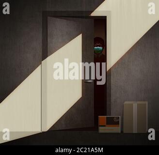 Un uomo afroamericano in una maschera chirurgica svange fuori dalla porta del suo appartamento durante la pandemia di Covid-19. Un pacchetto e una busta consegnati al suo do Foto Stock