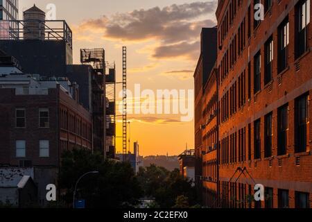 Vista della High Line a Manhattan in estate
