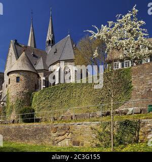 Chiesa di San Martino con mura della città e la torre dell'angelo in primavera, Olpe, Sauerland, Germania, Europa
