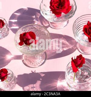 Bicchieri con acqua limpida e rose rosse su sfondo rosa, vista dall'alto. La bella vita creativa è inondata di luce con ombre dure e.