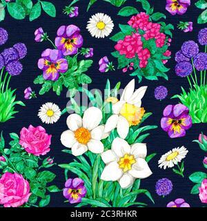 Motivo senza cuciture con Narcissus, pansy, rosa, margherita fiore su sfondo blu. Illustrazione botanica acquerello con elementi floreali per tessuti