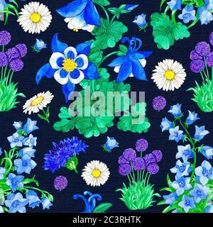 Motivo senza cuciture con Aquilegia, Allium, Bellflower e Cornflower su sfondo blu. Illustrazione botanica acquerello con elementi floreali per il testo