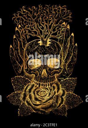 Emblema d'oro con cranio, mani umane, albero e rosa. Illustrazione esoterica, occulta e gotica con simboli di morte, sfondo mistico di Halloween, eng