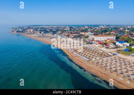 Vama Veche, Romania. Vista aerea della spiaggia di Vama Veche sul Mar Nero. Foto Stock