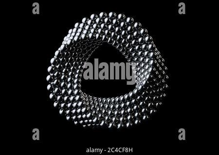 Astratto Impossible sfere in metallo cromato cerchio forma Cola a croce su sfondo nero. Rendering 3d