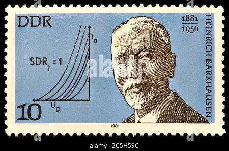 Francobollo tedesco orientale (1981) : Heinrich Georg Barkhausen (1881 – 1956) fisico tedesco.