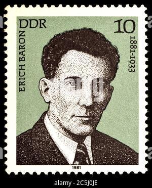 Francobollo tedesco orientale (1981) : Erich Baron (1881 - 1933 ) avvocato, giornalista e antifascista tedesco