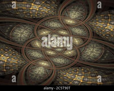 Flame Fractal Celtic Art Symmetrical Design Foto Stock
