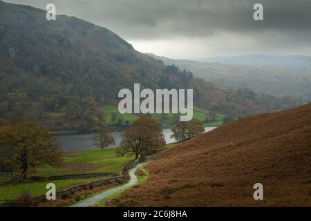 Rydal cadde e Rydal acqua dai piedi di Loughrigg cadde in un giorno di autunno nebby nel Lake District National Park, Cumbria, Inghilterra. Foto Stock