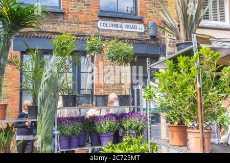 LONDRA, Regno Unito - 12 LUGLIO 2020: Columbia Road Flower Market in una domenica con un cartello e piante. Si possono vedere anche persone. Foto Stock