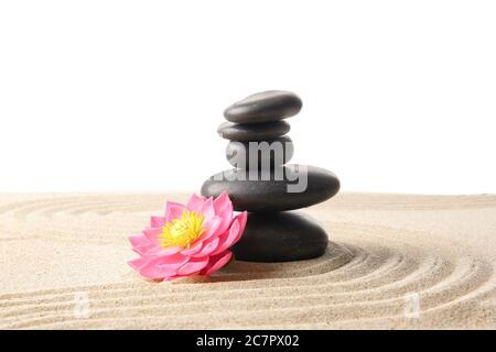Pietre e fiori sulla sabbia su sfondo bianco. Concetto Zen Foto Stock