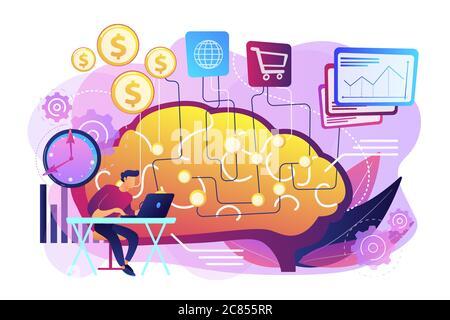 Intelligenza artificiale nell'illustrazione del vettore di concetto di finanziamento Foto Stock