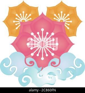 elemento cinese classico, disegno cinese di illustrazione vettoriale ornamento