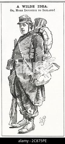 Cartoon, A Wilde idea -- Oscar Wilde, drammaturgo irlandese, raffigurato come un soldato francese (un riferimento al fatto che ha scritto per la prima volta la sua controversa commedia, Salome, in francese). Data: 1892