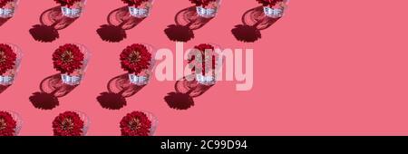 Striscione con motivo di un bicchiere con acqua e profondo fiore rosso Dahlia su sfondo rosso. Concetto di fiori minimal in luce dura con ombre. Design d'arte