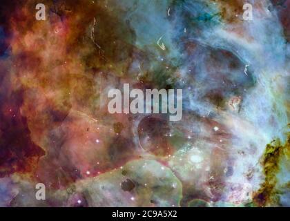 Una colorata regione formante stelle con sardust e rocce di asteroidi da qualche parte nello spazio. Fantascienza. Elementi dell'immagine sono stati forniti dalla NASA Foto Stock