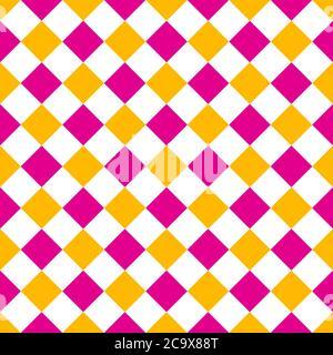 rhombus rosa e giallo motivo senza giunture sfondo illustrazione vettoriale Foto Stock
