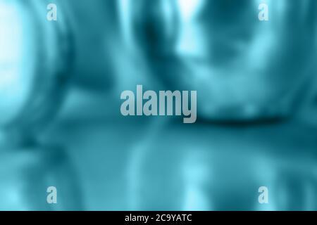 sfondo digitale astratto in blu turchese iridescente con forme sferiche e riflessi Foto Stock