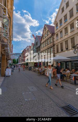 Calwer Strasse, strada dello shopping nel centro della città, Stuttart, Baden-Württemberg, Germania del Sud