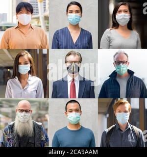 Gruppo di persone miste con maschera per la protezione da focolai di virus corona in diverse località come Covid-19 Concept