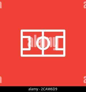 Icona del campo di calcio su sfondo rosso. Illustrazione di Red Flat Style Vector.
