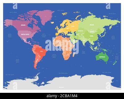 Cartina Mondo Politica Con Capitali.Mappa Politica Colorata Del Mondo Divisa In Sei Continenti Su Sfondo Blu Con Paesi Capitali Mari E Oceani Etichette Illustrazione Vettoriale Immagine E Vettoriale Alamy