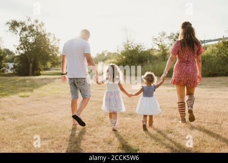 Famiglia che cammina su un prato in controluce Foto Stock