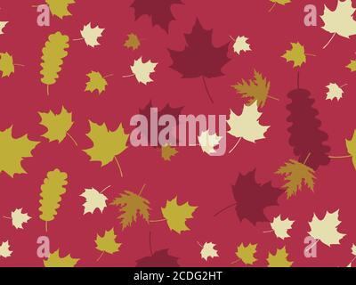 L'autunno lascia un motivo senza cuciture. Caduta delle foglie, caduta delle foglie. Quercia e acero. Sfondo per carta da imballaggio, stampa, tessuto e stampa. Vettore illustrati