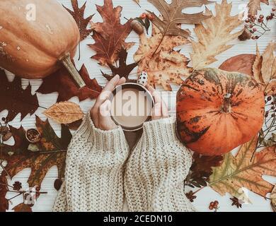 Mano che mantiene il caffè caldo e zucche e foglie colorate vista dall'alto. Elegante appartamento di autunno laici. Ciao caduta. Caldo e accogliente immagine Foto Stock