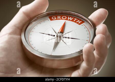 Uomo mano che tiene bussola con ago che punta la parola crescita. Investimento del concetto finanziario. Immagine composita tra una fotografia a mano e una ba 3D