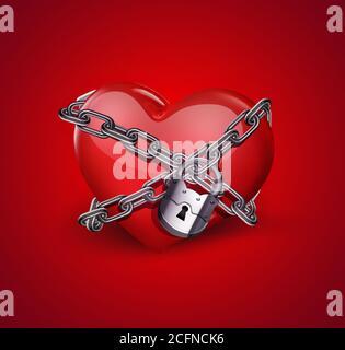 cuore rosso nelle catene primo piano su sfondo rosso Foto Stock