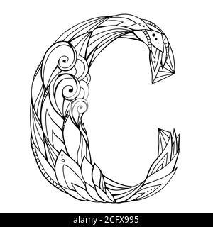 Disegno a mano libera in bianco e nero lettera maiuscola C con motivo a doodle floreale. Elemento vettoriale per il progetto Foto Stock