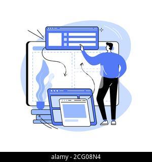 Illustrazione vettoriale del concetto astratto di sviluppo del front-end. Foto Stock