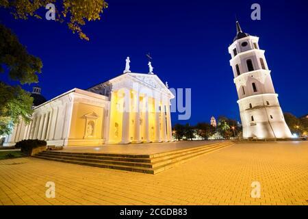 Vista notturna della Basilica Cattedrale illuminata di San Stanislao e San Ladislao nella Piazza della Cattedrale nella Città Vecchia di Vilnius, Lituania