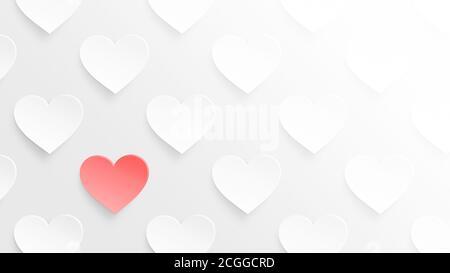 Cuori bianchi e un cuore rosso su sfondo grigio chiaro. Simbolo dell'amore e San Valentino. Concetto di levarsi in piedi fuori dalla folla, uno di un genere. Foto Stock