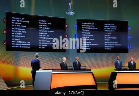 Calcio Calcio - Europa League Group Stage Draw - Monaco - 25 agosto 2017 Vista generale durante il pareggio REUTERS/Eric Gaillard Foto Stock