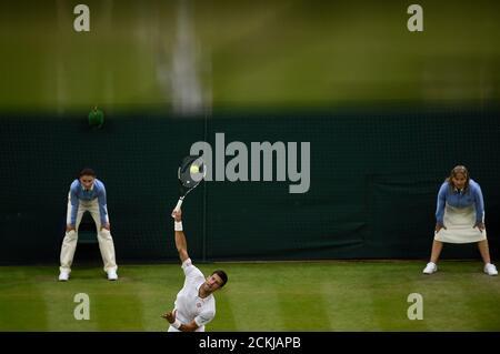 Britain Tennis - Wimbledon - All England Lawn Tennis & Croquet Club, Wimbledon, England - 29/6/16 Serbia's Novak Djokovic in action against France's Adrian Mannarino REUTERS/Toby Melville