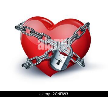 cuore rosso in catene Foto Stock