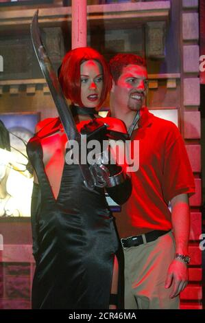 A woman dressed as character BloodRayne from the popular video game 'BloodRayne 2g' poses with a guest under colored lighting as The Electronic Entertainment Expo, or E3, a trade show for the video game industry, opens in Los Angeles May 12, 2004. Many companies will be introducing new hardware and software titles for fans of video games. REUTERS/Fred Prouser  FSP Foto Stock