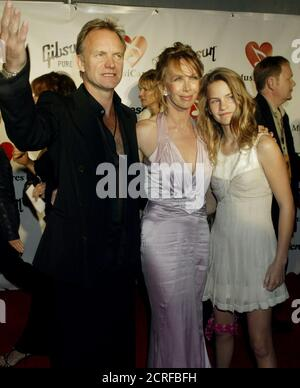 Singer Sting, wife Trudie Styler (C) and their daughter Coco (R) arrive for the National Academy of Recording Arts and Sciences annual Musicares 2004 Person of the Year dinner at Sony Studios in Los Angeles February 6, 2004. Sting is being honored as the person of the year at the dinner which raises funds for the Musicares program which assists musicians with financial, medical and personal needs. REUTERS/Fred Prouser  FSP/GAC
