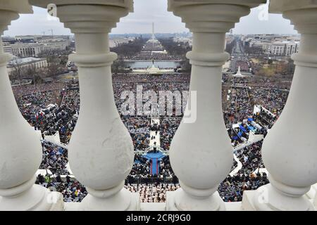 Il presidente Donald Trump ha avuto il suo discorso inaugurale al Campidoglio degli Stati Uniti a Washington, D.C., 20 gennaio 2017. REUTERS/Ricky Carioti/Pool Foto Stock